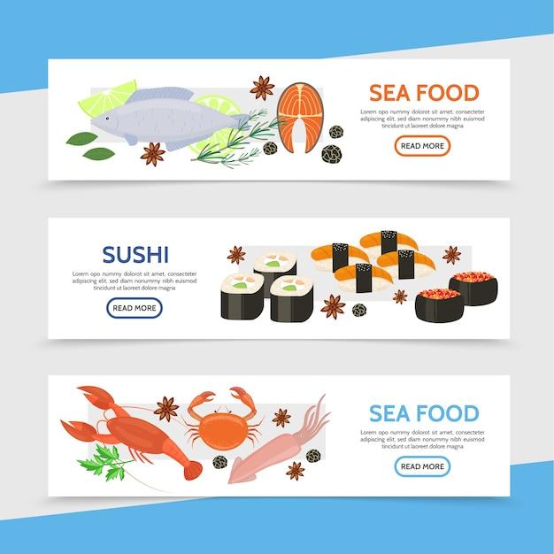 Banners horizontales de mariscos planos naturales con pescado cocido calamar cangrejo langosta filete de salmón hierbas de caviar