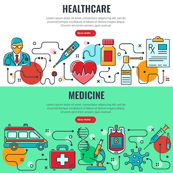 Banners horizontales de medicina y salud con iconos de líneas de colores médico, coronavirus, transfusión de sangre, cardiograma, prescripción. infografías de procesos. aislado