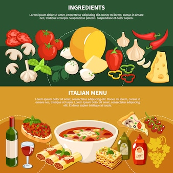 Banners horizontales de menú italiano