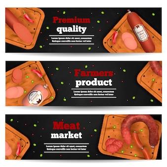 Banners horizontales del mercado de carne