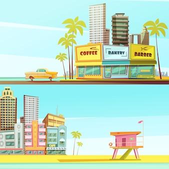 Banners horizontales de miami beach en estilo de dibujos animados con camarote en la orilla del mar, cafetería, salvavidas, cabina