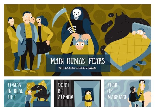 Banners horizontales de miedos humanos con símbolos de fobias plano aislado