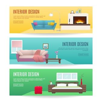 Banners horizontales de muebles con diseño de interiores de salón y dormitorio de chimenea aislado ilustración vectorial