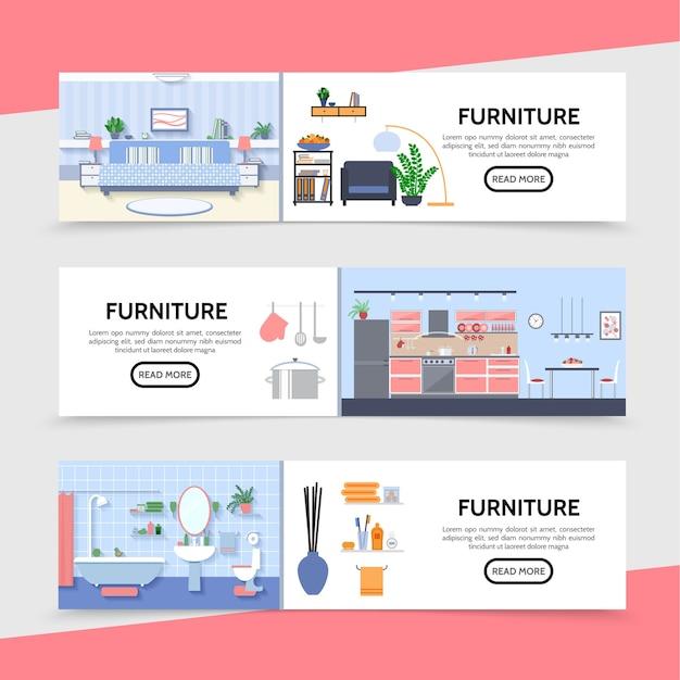 Banners horizontales de muebles planos