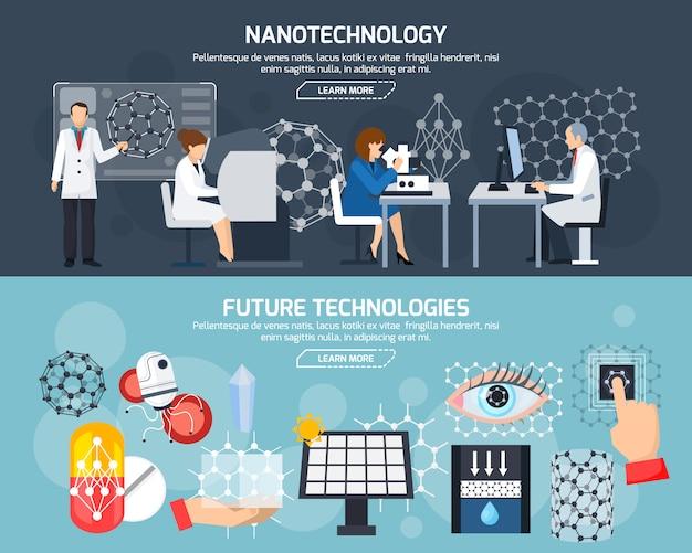 Banners horizontales de nanotecnología