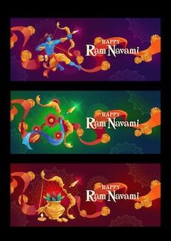 Banners horizontales de navami ram plano