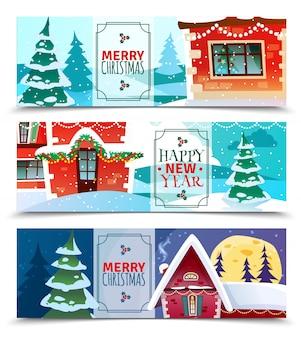 Banners horizontales de navidad