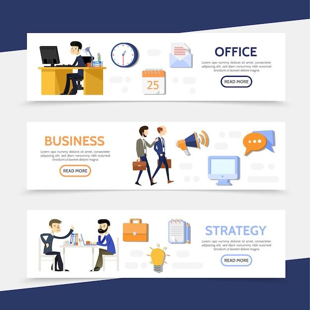 Banners horizontales de negocios planos con carta de calendario de trabajo de oficina de gerentes de empresarios