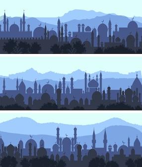 Banners horizontales de la noche de la ciudad árabe del paisaje urbano