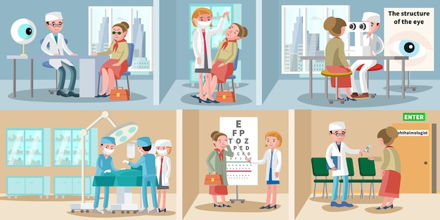 Banners horizontales de oftalmología sanitaria