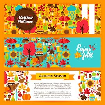 Banners horizontales de otoño. ilustración de vector de identidad de marca. encabezados de sitios web de la temporada de otoño.