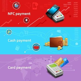 Banners horizontales de pago con elementos realistas de efectivo y tarjeta.