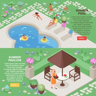 Banners horizontales de paisaje con símbolos de piscina de verano isométricos aislados