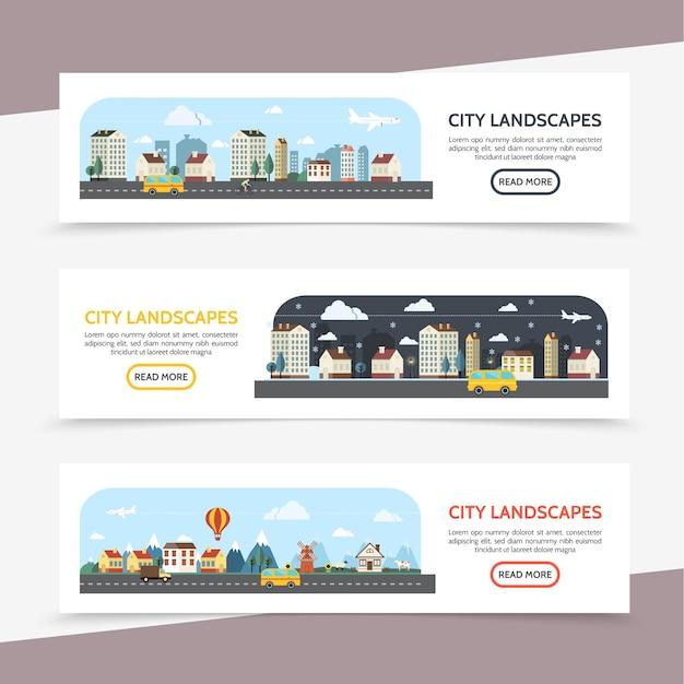 Banners horizontales de paisaje urbano plano con verano, invierno y suburbio paisajes diferentes edificios de autobuses