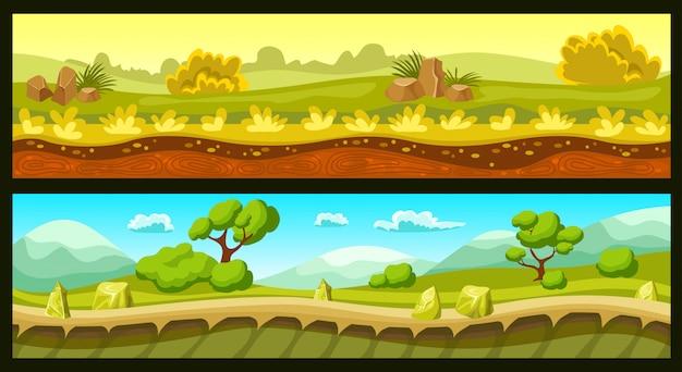 Banners horizontales de paisajes de juego