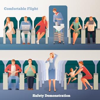 Banners horizontales de personas en avión