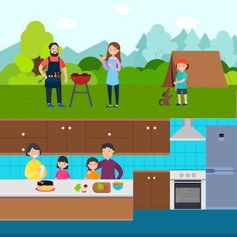 Banners horizontales de personas de cocina