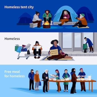 Banners horizontales para personas sin hogar