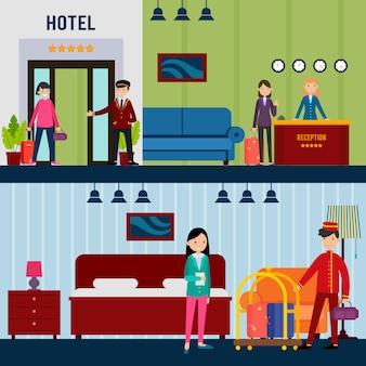 Banners horizontales de personas en hotel