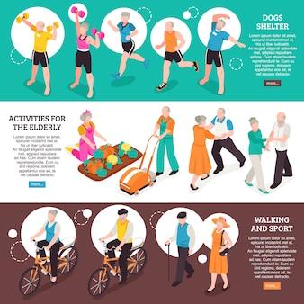 Banners horizontales de personas mayores con caminar y deporte símbolos isométricos aislados