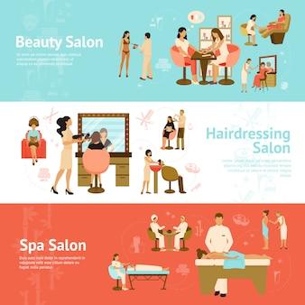 Banners horizontales de personas en salones de belleza y spa