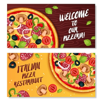 Banners horizontales de pizza italiana