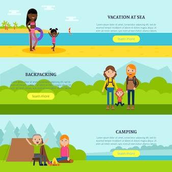 Banners horizontales planas de vacaciones