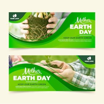 Banners horizontales planos del día de la madre tierra con foto