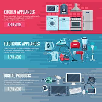 Banners horizontales planos hogar conjunto de aparatos electrónicos de cocina y productos digitales