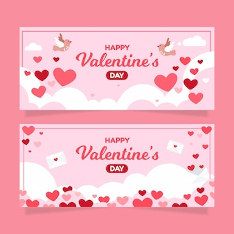 Banners horizontales planos de san valentín