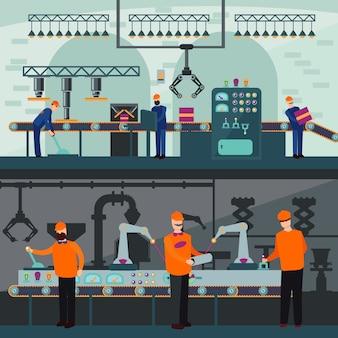 Banners horizontales de planta de fabricación industrial