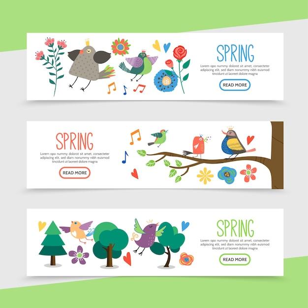 Banners horizontales de primavera hola plana con hermosas flores notas musicales pájaros lindos sentados en las ramas de los árboles