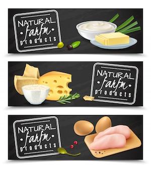 Banners horizontales de productos agrícolas naturales con mantequilla, queso, huevos, crema agria, filete de pollo, iconos realistas, ilustración