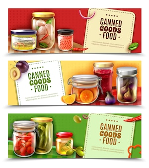 Banners horizontales de productos enlatados
