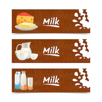 Banners horizontales de productos lácteos con crema agria de mantequilla de queso.