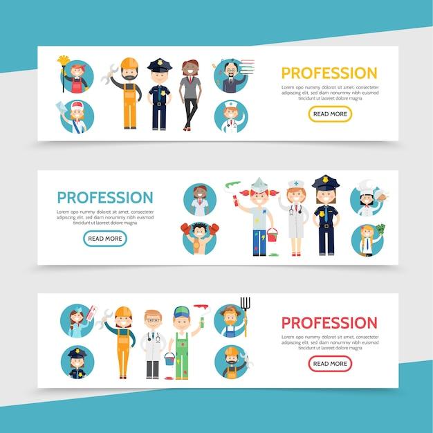 Banners horizontales de profesiones planas con conserje cartero constructor policía estilista profesor médico