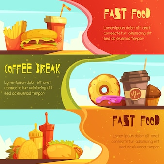 Banners horizontales de publicidad de restaurantes de comida rápida con oferta de comida para el descanso