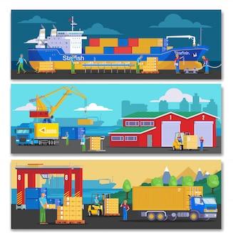 Banners horizontales del puerto marítimo