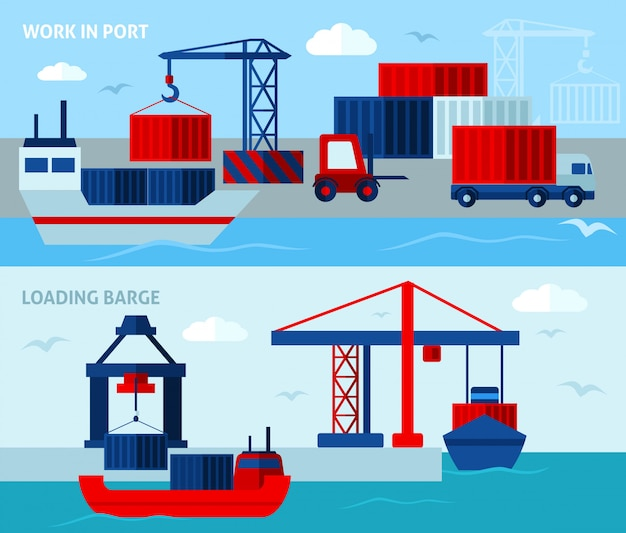 Banners horizontales de puerto plano de color
