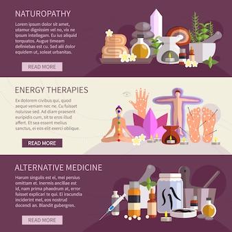 Banners horizontales que muestran conjunto de iconos planos de medicina alternativa