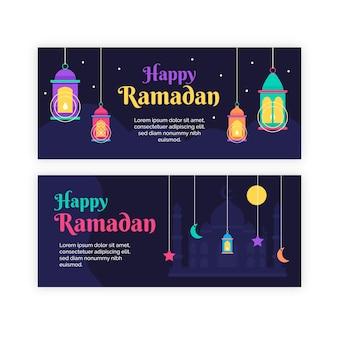 Banners horizontales de ramadán de diseño plano con lámparas ilustradas