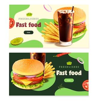 Banners horizontales realistas de comida rápida conjunto ilustración aislada