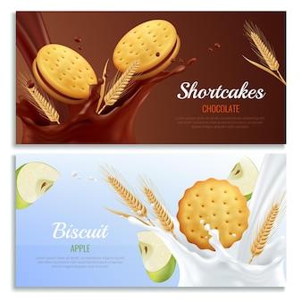 Banners horizontales realistas de cookies con símbolos de sabor a manzana y chocolate aislados