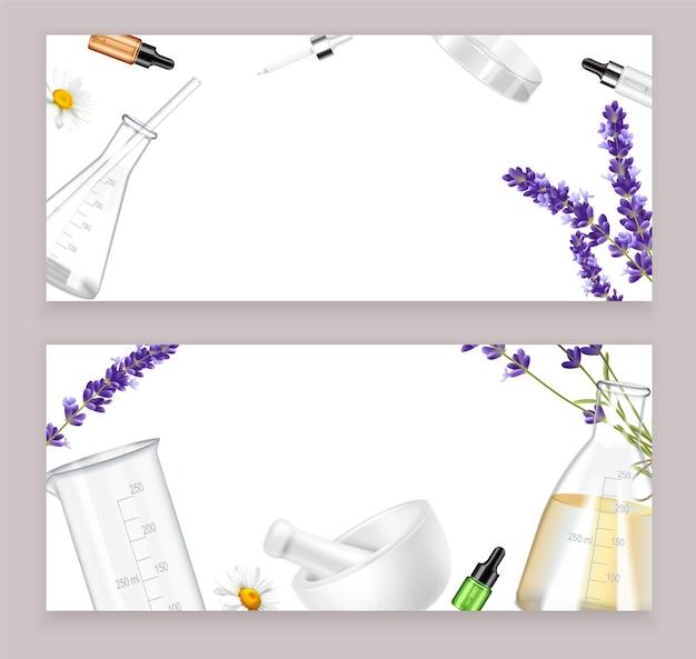 Banners horizontales realistas con herramientas y flores.