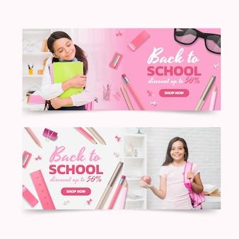 Banners horizontales realistas de regreso a la escuela con foto