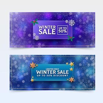 Banners horizontales de rebajas de invierno realistas
