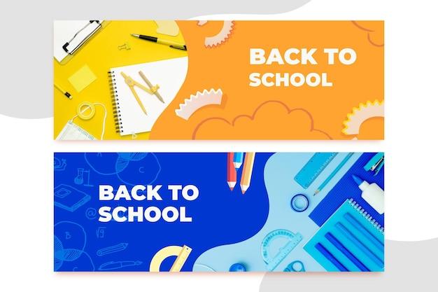 Banners horizontales de regreso a la escuela dibujados a mano con foto