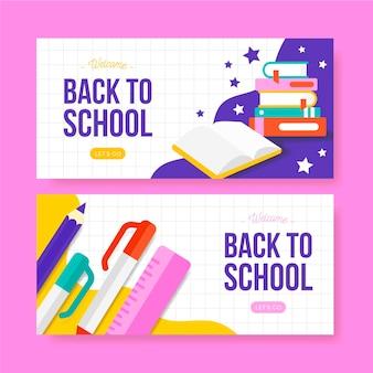 Banners horizontales de regreso a la escuela