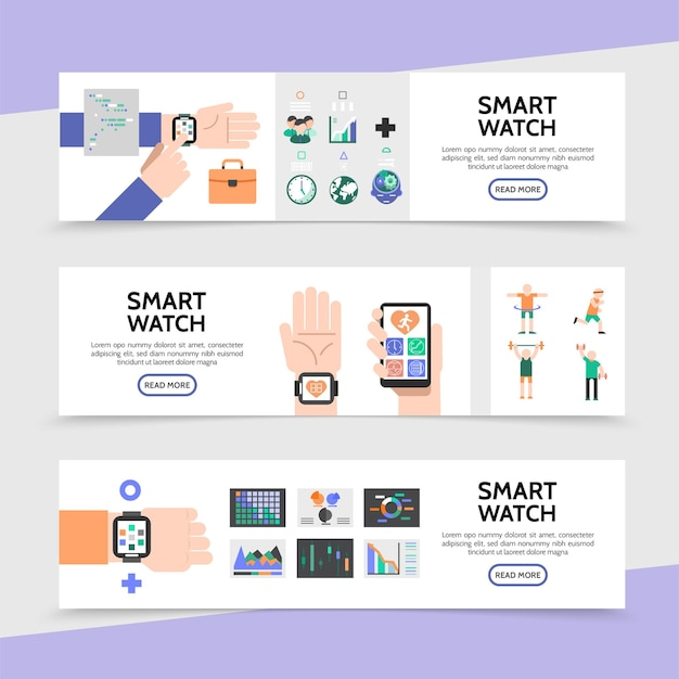 Banners horizontales de reloj plano inteligente con reloj inteligente en las manos, botones coloridos, aplicación de fitness, deporte