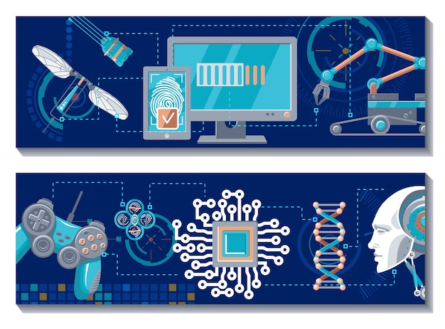 Banners horizontales robóticos científicos
